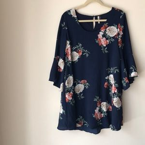 Floral Dress w/ Flared Sleeves